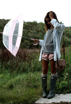 wellies and shorts